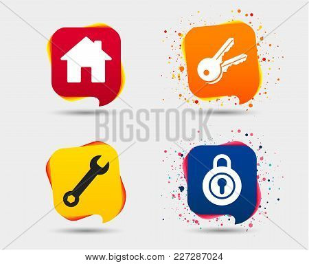 Home Key Icon. Wrench Service Tool Symbol. Locker Sign. Main Page Web Navigation. Speech Bubbles Or