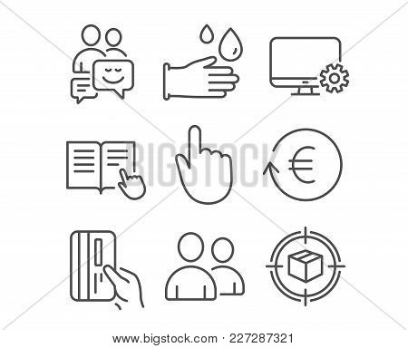 Set Of Rubber Gloves, Users And Hand Click Icons. Exchange Currency, Monitor Settings And Communicat