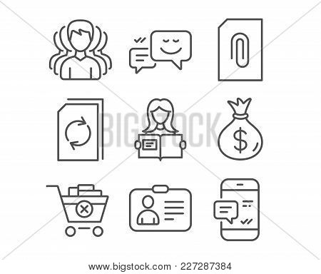 Set Of Money Bag, Woman Read And Happy Emotion Icons. Attachment, Remove Purchase And Update Documen