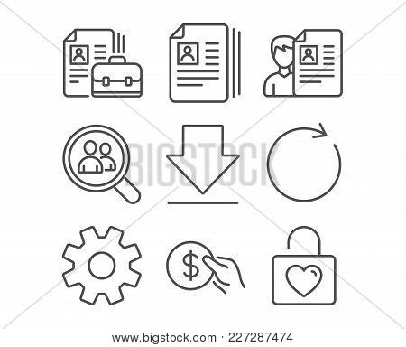 Set Of Service, Synchronize And Payment Icons. Cv Documents, Downloading And Vacancy Signs. Search E