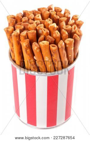 Salted pretzel salty sticks in red and white box