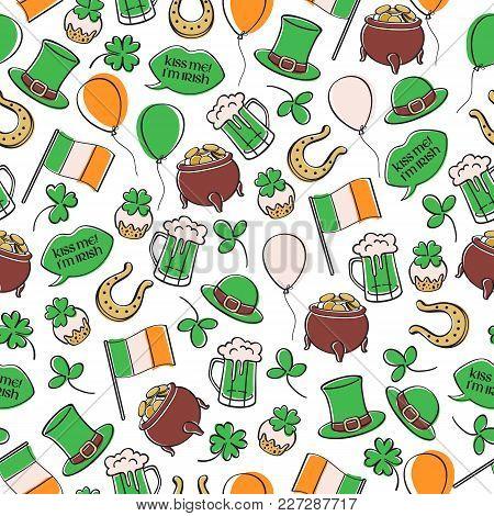 St Patrick's Day Irish Seamless Pattern.