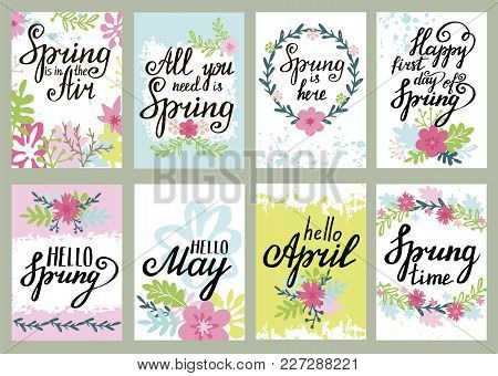 Springtime Floral Modern Calligraphy Greeting Card Set With Handwritten Spring Quotes And Sayings. V