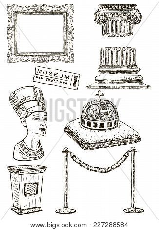 Museum Icon Set. Vector Ink Hand Drawn Illustration Of Picture Frame, Barrier, Ancient Column, Nefer
