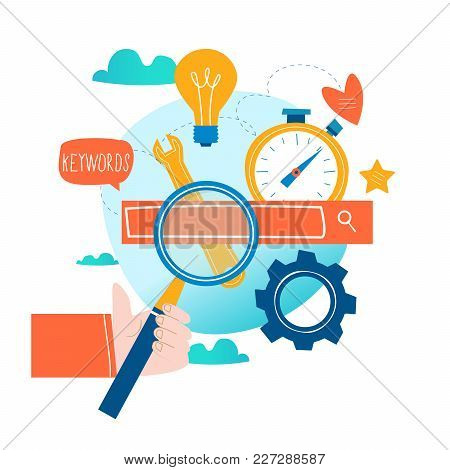 Seo, Search Engine Optimization, Keyword Research, Market Research Flat Vector Illustration. Seo Con