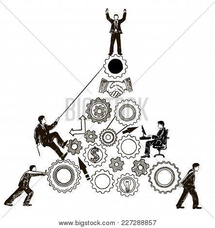 Teamwork Concept Vector Hand Drawn Illustration. Business People Pushing Cogwheel, Climbing Gear Whe