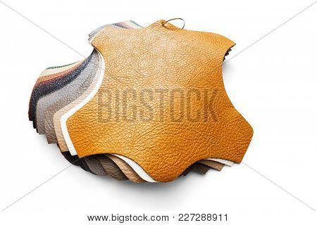 Samples of artificial leather for decoration and design, including Clipping Path