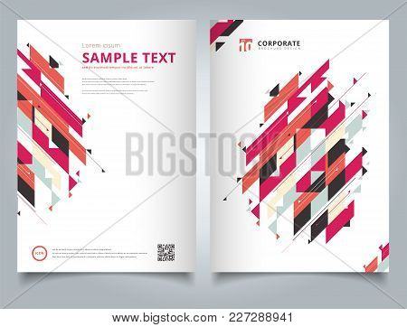 Brochure Template Geometric Modern Diagonal And Triangle Element Red Tone Color Simple Text. Busines