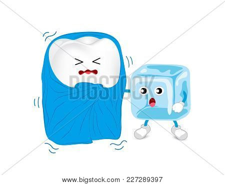 Cartoon Unhealthy Tooth Character With Blanket And Ice. Sensitive Teeth To Cold.  Dental Care Concep