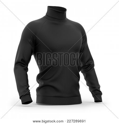 Men's sweater with long raglan sleeves. Half-front view. 3d rendering. Clipping paths included: whole object, collar, sleeves. Isolated on white background. Black (highlights template)