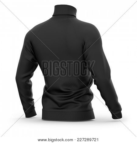 Men's sweater with long raglan sleeves. Half-back view. 3d rendering. Clipping paths included: whole object, collar, sleeves. Isolated on white background. Black (highlights template)