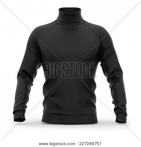 Men's sweater with long raglan sleeves. Front view. 3d rendering. Clipping paths included: whole object, collar, sleeves. Isolated on white background. Black (highlights template)