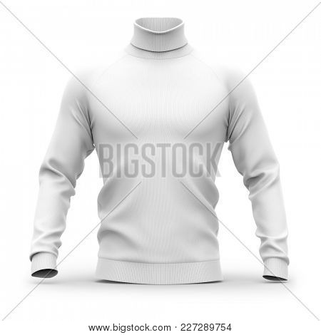 Men's sweater with long raglan sleeves. Front view. 3d rendering. Clipping paths included: whole object, collar, sleeves. Isolated on white background. White (shadows template)
