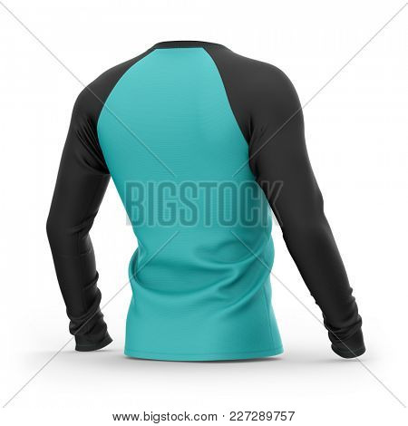 Men's blue t shirt with long black raglan sleeves. Half-back view.3d rendering. Isolated on white background. Clipping paths included: whole object, collar, sleeves.
