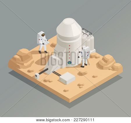 Life In Universe Isometric Composition With Astronauts In Spacesuits Working Outside Facility On Ano
