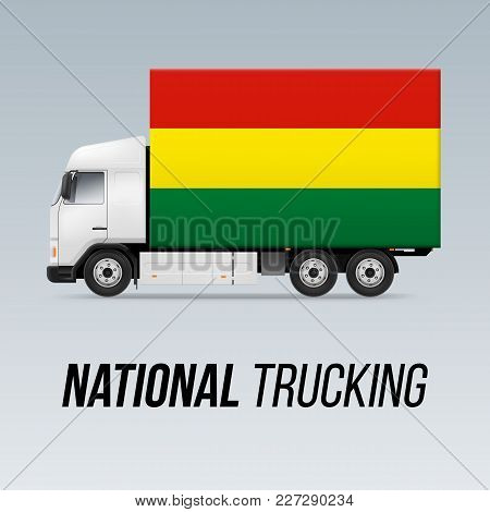 Symbol Of National Delivery Truck With Flag Of Bolivia. National Trucking Icon And Bolivian Flag