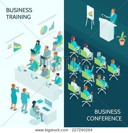Business Education Vertical Isometric Banners With Lecturer And Auditorium During Conference And Cor