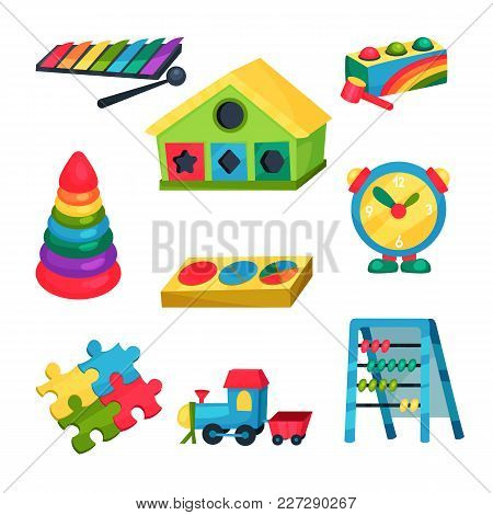 Set Of Colorful Children S Toys. Xylophone, Pyramid With Rings, Abacus, Puzzles, Clock, Train, House