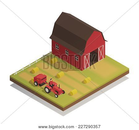 Agricultural Farm Harvesting Machinery With Hay Making Equipment Compact Tractor And Large Barn Isom