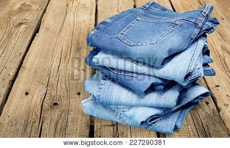 Table Wooden Stack Jeans Copy Space Color Group