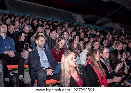 Moscow, Russia - February 19, 2018: Audience At The Business Conference For Entrepreneurs