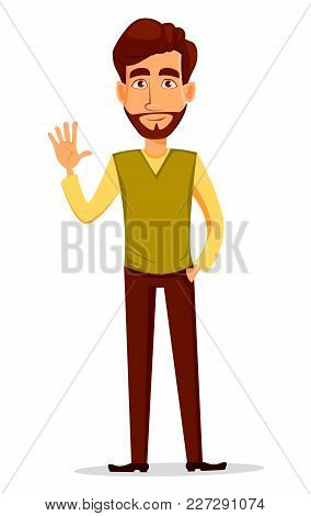 Business Man With Beard, Cartoon Character. Young Handsome Businessman In Smart Casual Clothes Wavin