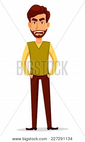 Business Man With Beard, Cartoon Character. Young Handsome Businessman In Smart Casual Clothes With