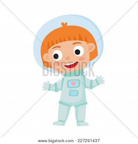 Standing Astronaut Kid Isolated On White Background. Cartoon Pretty Red-haired Girl Wearing Astronau
