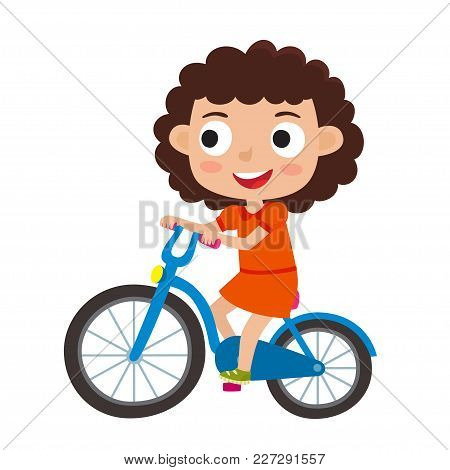 Cartoon Curly Girl Riding A Bike Having Fun Riding Bicycles Isolated On White. Happy Kid Having Fun