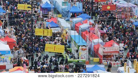 Victoria Park, Hong Kong, 14 February 2018:-Top view of Traditional chinese lunar new year fair in Hong Kong