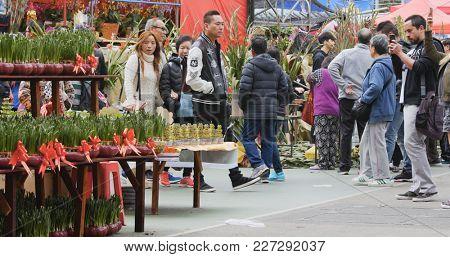 Victoria Park, Hong Kong 14 February 2018:- Hong Kong Lunar new year fair in Victoria park, traditional Chinese market