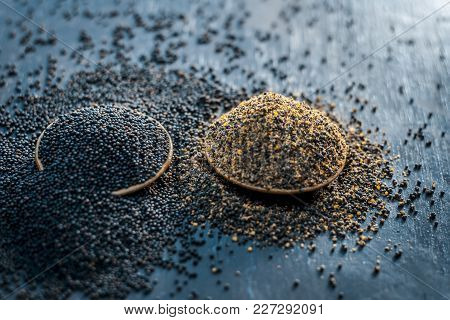 Raw Mustard Seeds,sarso,or Rai On A Wooden Surface With Dark Gothic Colors,seeds Of Its Plant Are A