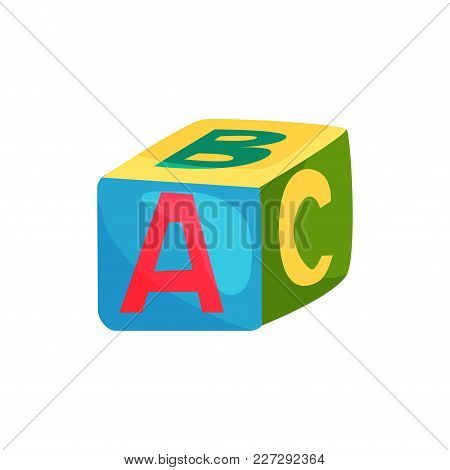 Colorful Cube With Letters. Toy For Children S Development. Design Element For Kids Educational Cent
