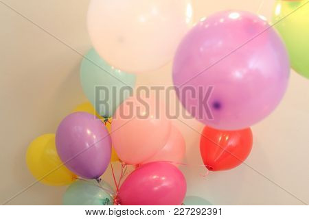 Many Multi-colored Balloons With Helium On Ribbons Celebration