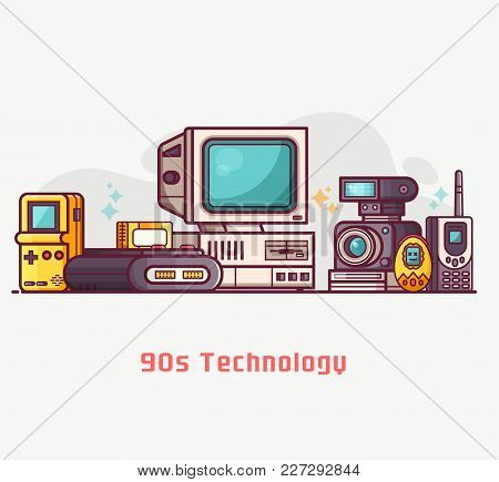 Vintage 90s Technology Banner. Nineties Multimedia Electronic Entertainment Gadgets With Camera, Old