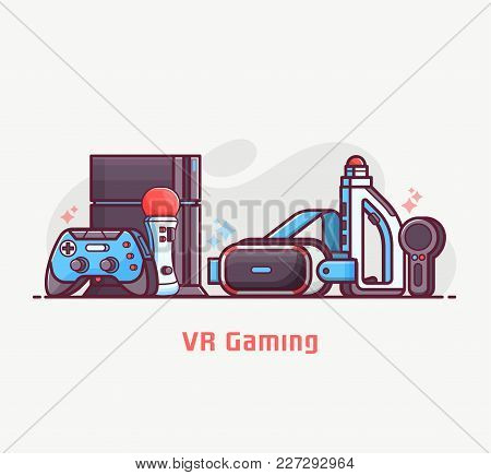 Augmented Reality And Virtual Gaming Lifestyle Illustration With Vr Devices And Gadgets. Cyberspace
