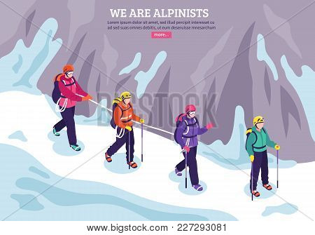 Mountaineering Winter Background With Expedition Of Alpinists Going In Conjunction On Snow Isometric