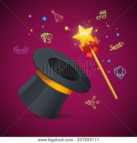 Realistic Detailed 3d Magic Wand Party Concept With Black Hat Or Cylinder And Color Outline Icons. V