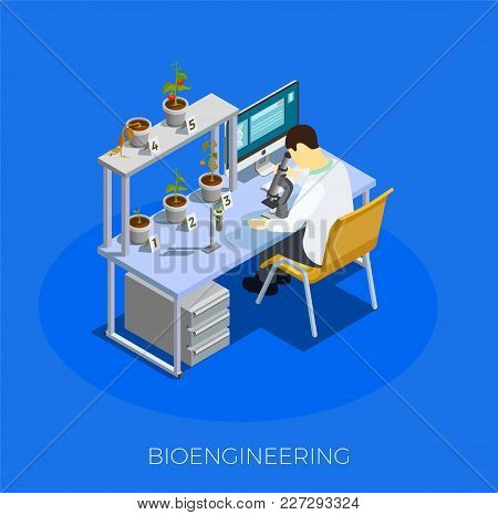 Gmo Bio Engineering Isometric Composition On Blue Background With Scientist During Work With Tomato