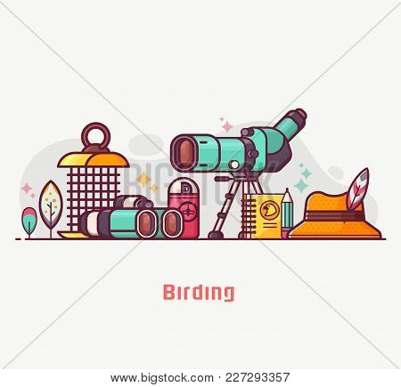 Birding Lifestyle Illustration With Birdwatcher Equipment And Elements. Travel Scope, Binoculars, Bi