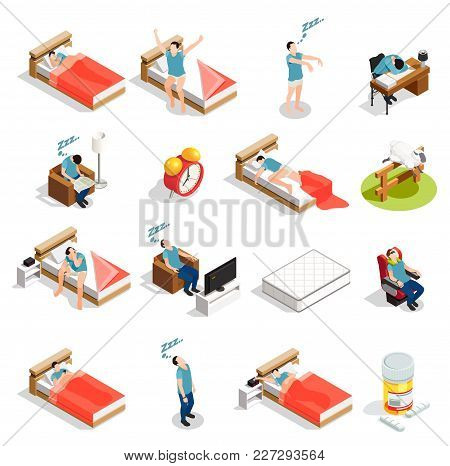 Healthy Sleep And Disorders Isometric Icons Set With Insomnia, Dream During Trip, Counting Sheep Iso