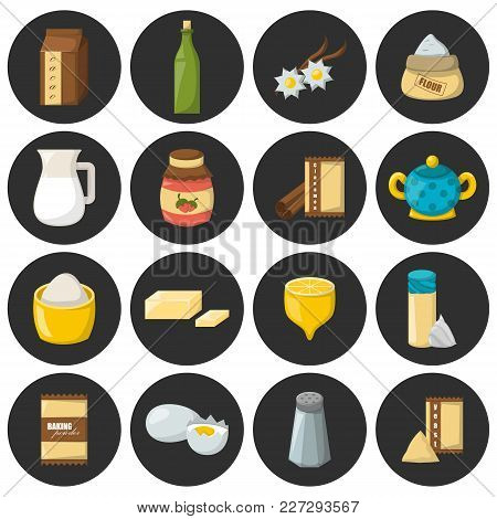 Vector Cartoon Illustration With Baking Ingredients. Cooking Ingredients Icons. Vector Cartoon Kitch