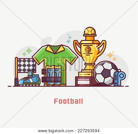 Footballer Lifestyle Banner With Soccer Training Equipment And Playing Elements. Football Championsh