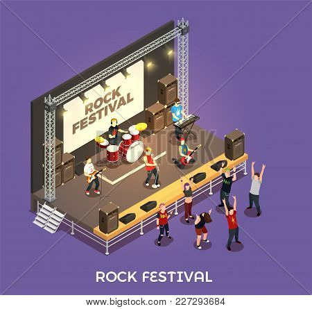 Rock Festival Isometric Composition On Purple Background With Musicians On Stage, Concert Equipment,