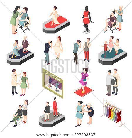 Fashion Industry Set Of Isometric Icons With Models On Catwalk, Photographer, Stylist And Visagiste
