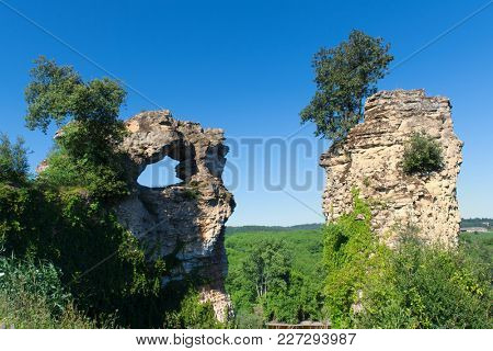 Remain ruin near French river Dordogne