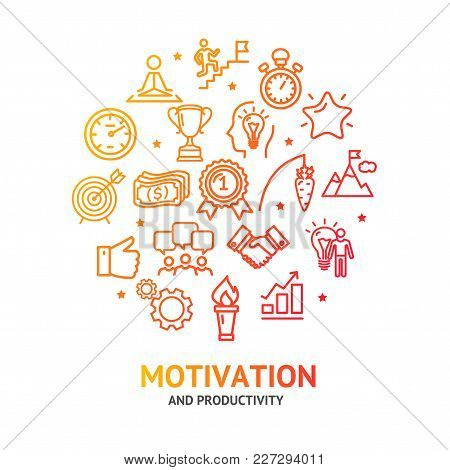 Motivation And Productivity Work Signs Round Design Template Line Icon Concept For Service Managemen