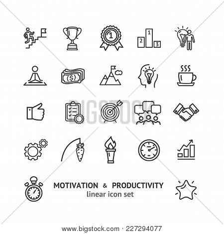 Motivation And Productivity Signs Black Thin Line Icon Set Include Of Goal, Idea, Plan, Success And