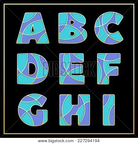 Colorful Stylized Abc Mosaic Font With Capital Letters From A To I. Part 1 Of 5. Enamel Jewelry Art