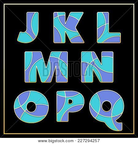 Colorful Stylized Abc Mosaic Font With Capital Letters From J To Q. Part 2 Of 5. Enamel Jewelry Art